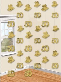 6 guirlandes verticales 50 ans Or