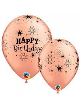 10 Ballons luxe Happy birthday rose gold