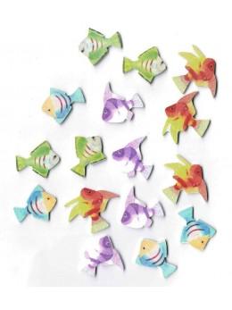Sachet 16 poissons tropicaux bois 3cm