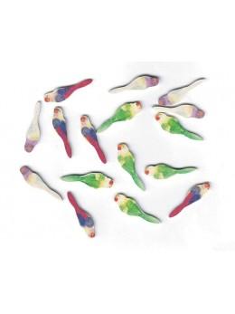 Sachet 16 oiseaux tropicaux bois 3cm