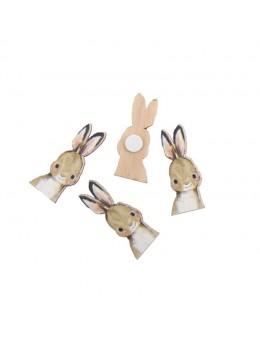 Set 12 confetti lapin adhésifs bois