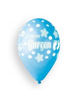 """10 Ballons """"c'est un garçon"""" bleu 30cm"""