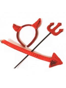 Set de déguisement diablesse paillette rouge