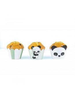 6 Cupcakes Baby Panda Vert Pastel