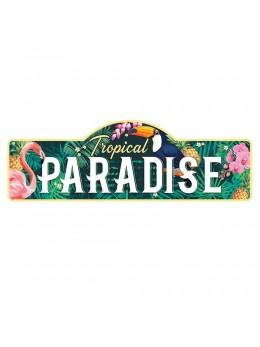 Plaque métal géante paradis tropical