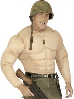 Faux torse musclé militaire adulte