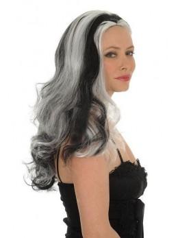 Perruque sorcière bouclée noire et blanche