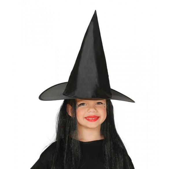 Chapeau sorcière enfant avec cheveux
