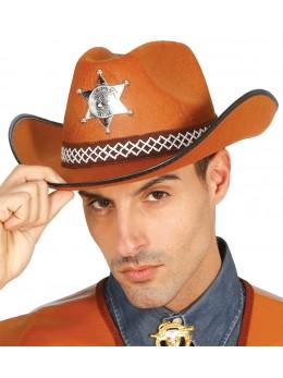 Chapeau cowboy shériff marron