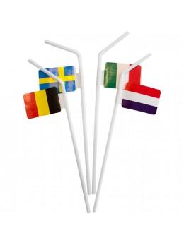 10 Pailles drapeaux européens