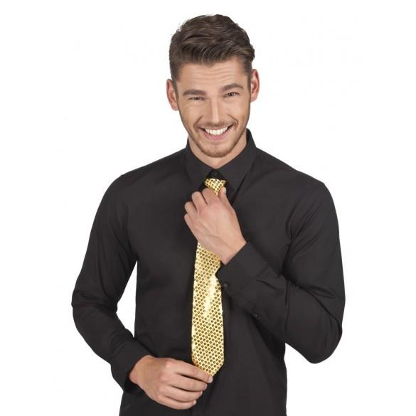cravate paillettes or