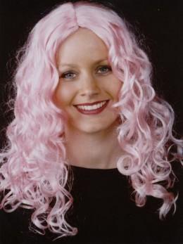 Perruque femme ondulée rose pâle