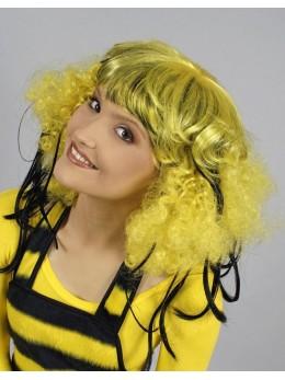 Perruque hippie jaune mèches noires