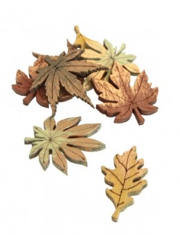 8 Confetti bois feuilles d'Automne 3.5cm