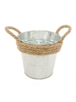 Pot en zinc avec corde 13cm