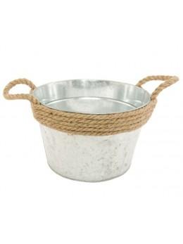 Pot en zinc avec corde 23cm