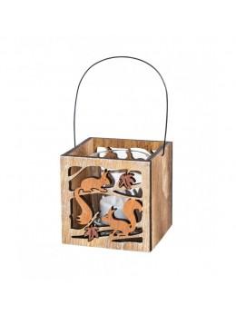 Lanterne bois motif écureuil