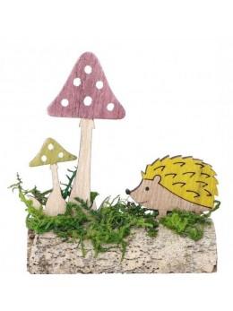 Déco hérisson et champignon sur buche