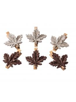 Sachet 6 feuilles d'érable pailletées sur pince