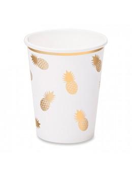 8 Gobelets carton ananas or