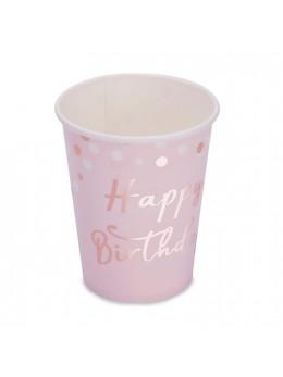 8 Gobelets Happy Birthday Confetti Rose Gold