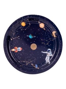 8 Assiettes carton astronaute 23cm