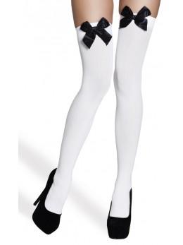 Bas blanc avec noeud noir