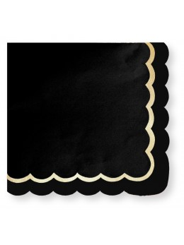 16 Serviettes papier noir bordure or