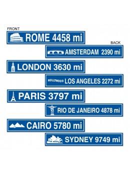 4 Panneaux de rue thème voyage