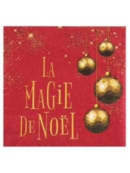 20 serviettes papier magie de Noël rouge
