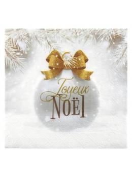 20 serviettes boules de Noël or