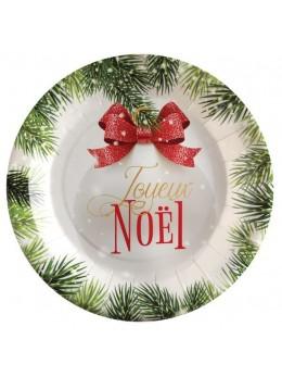 10 assiettes boules de Noël rouge