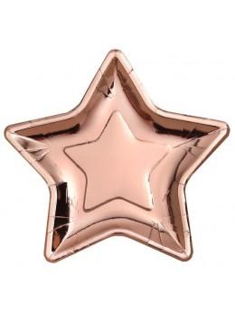 10 assiettes étoile rose gold