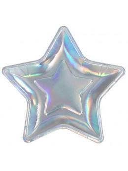 10 assiettes étoile irisé