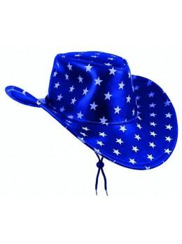Chapeau cowboy bleu étoiles blanches