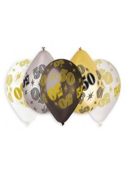 10 ballons 50 ans métallisées