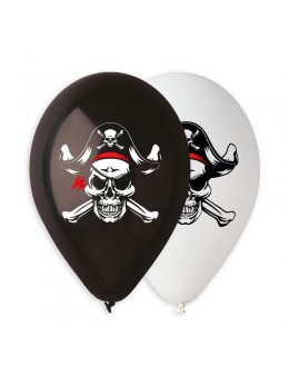 10 ballons pirate skull and bones