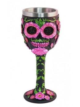 Calice verre à pied tête de mort mexicaine