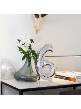 Ballon Chiffre 6 argent 36 cm