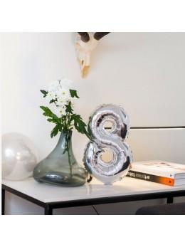 Ballon Chiffre 8 argent 36 cm