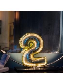 Ballon Chiffre 2 or 36 cm