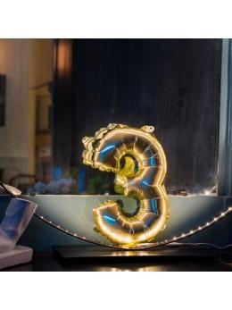 Ballon Chiffre 3 or 36 cm