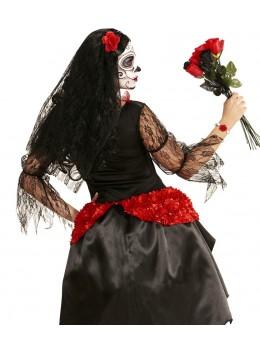Voile avec rose rouge espagnole
