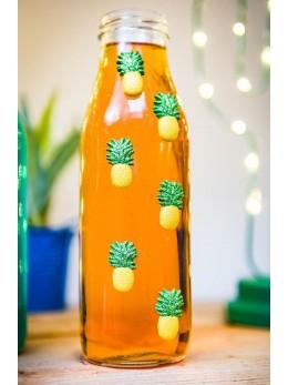 6 ananas résine paillettes adhésif 3cm