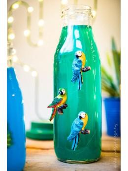 6 perroquets résine paillettes adhésif 5cm
