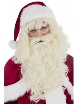 Set Père Noël barbe et perruque naturel luxe