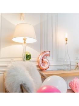 Ballon Chiffre 6 rose gold 36 cm