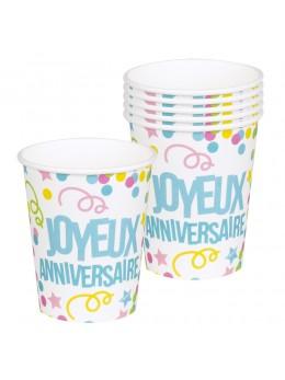8 gobelets Joyeux anniversaires étoile et confetti