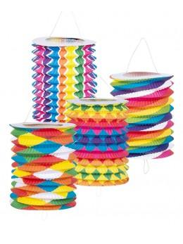 12 Lampions cylindriques bariolés 13cm