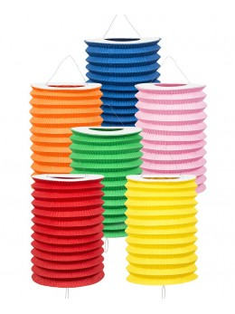 12 Lampions cylindriques assortis 13cm